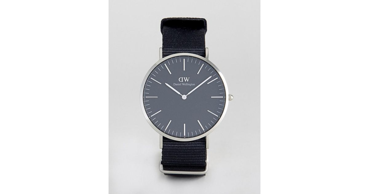 Daniel Wellington Classic Black Cornwall Nato Watch With Silver Dial 40mm in Black for Men - Lyst