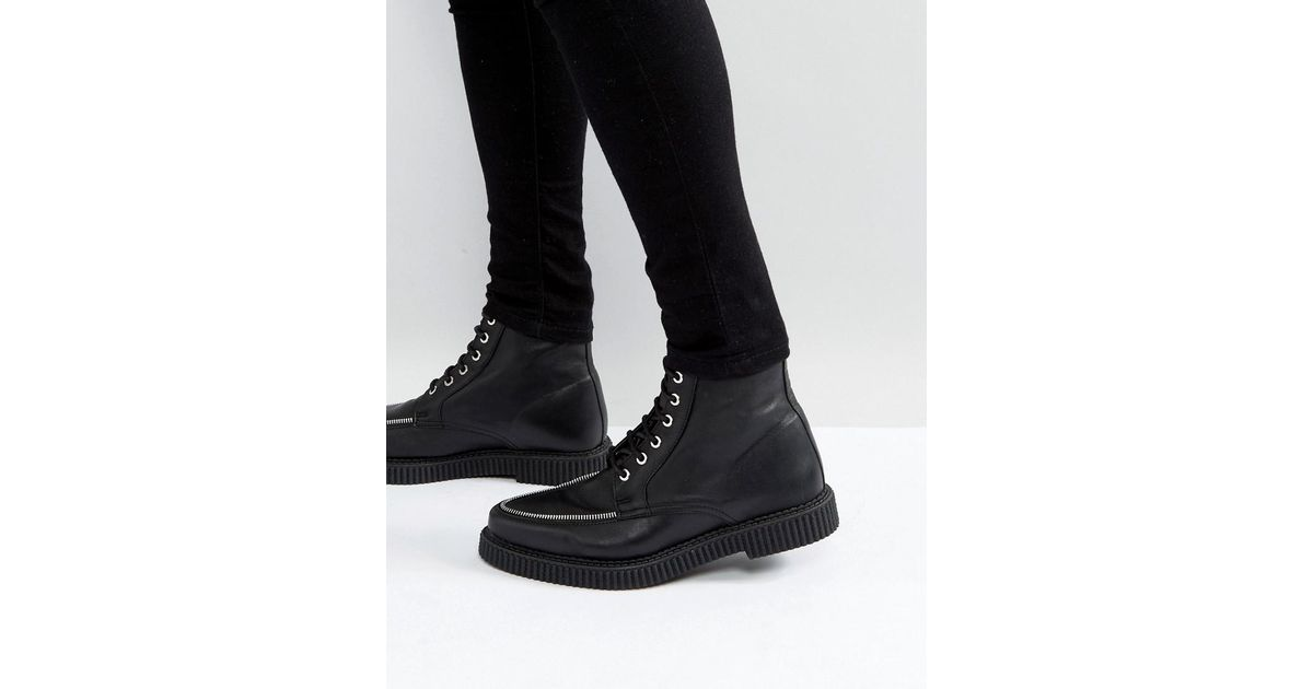 Lace Up Creeper Boots In Black Leather With Zip Detail - Black Asos bNd4XUx
