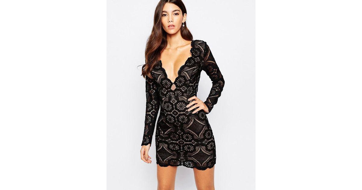 Best Service Fa2f0 35c5c Love Triangle V Neck Lace Mini Dress Asos