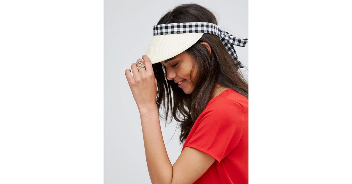 Lyst - ASOS Gingham Bow Straw Visor Hat in Black ad9009ceca1