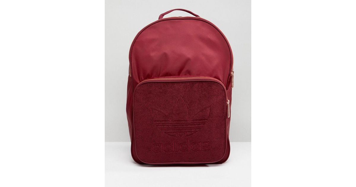 751b64cb7a5c Lyst - adidas Originals Classic Backpack In Burgundy With Rose Gold  Hardware in Red