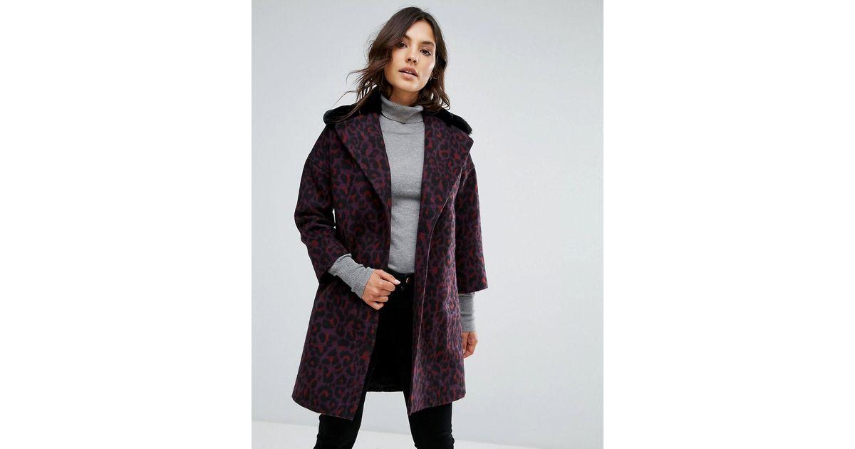 4e2bca2f1ee Lyst - Manteau en laine mlange avec revers et col en fausse fourrure Helene  Berman en coloris Violet