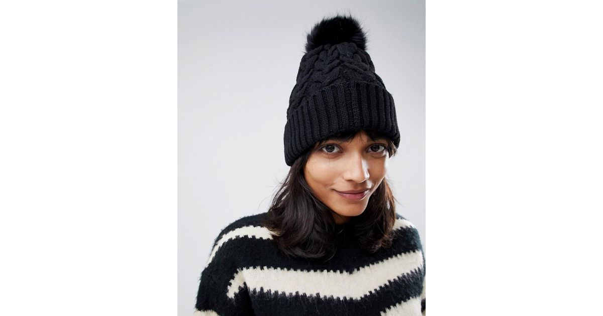 d73a4cb7a6d ASOS Cable Faux Fur Pom Beanie In Recycled Polyester in Black - Lyst
