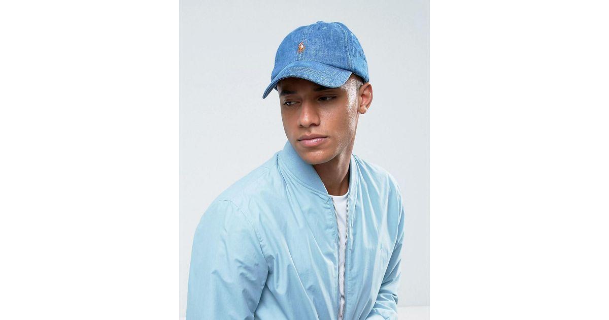 Polo Ralph Lauren Player Baseball Cap In Mid Denim in Blue for Men - Lyst fe586fb75f4
