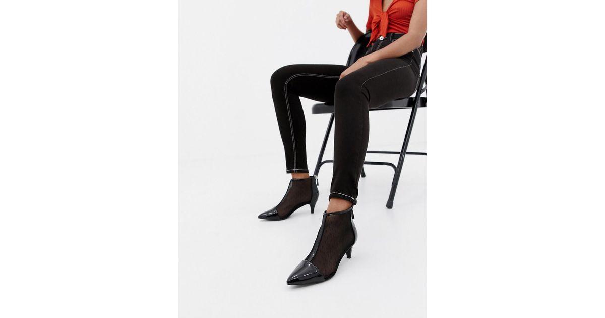 5f316b54e2108b London Rebel Kitten Heel Ankle Boots in Black - Lyst