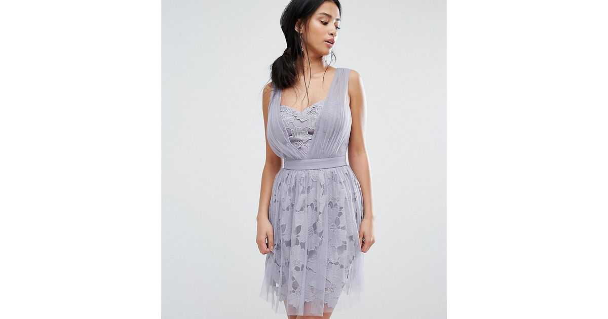 Little mistress allover tulle floral applique mini dress in purple