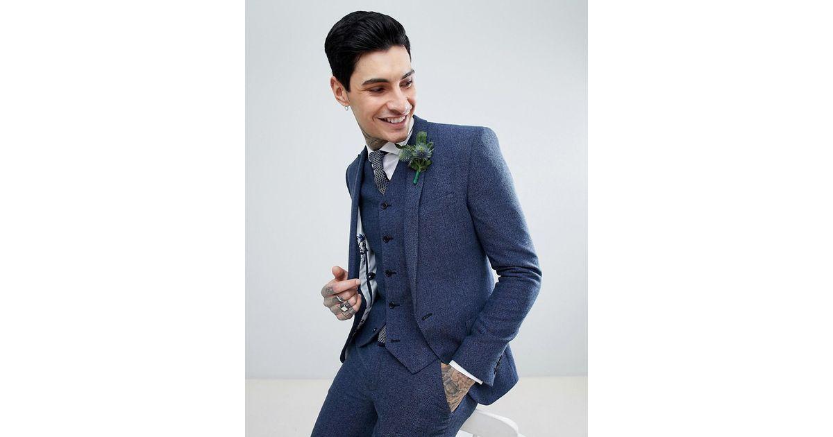 a768ffd1652d5d ASOS Asos Wedding Super Skinny Suit Jacket In Petrol Blue Herringbone in  Blue for Men - Lyst