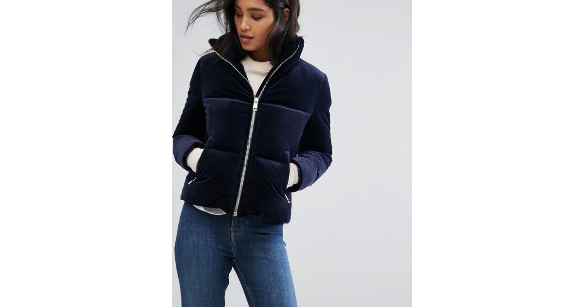 96a2ec236926 Lyst - Tommy Hilfiger Velvet Down Padded Jacket in Blue
