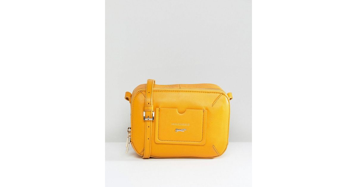 d4a976032fa4 Lyst - Paul Costelloe Real Leather Zip Around Cross Body Bag With Stitched  Pocket In Tan in Yellow