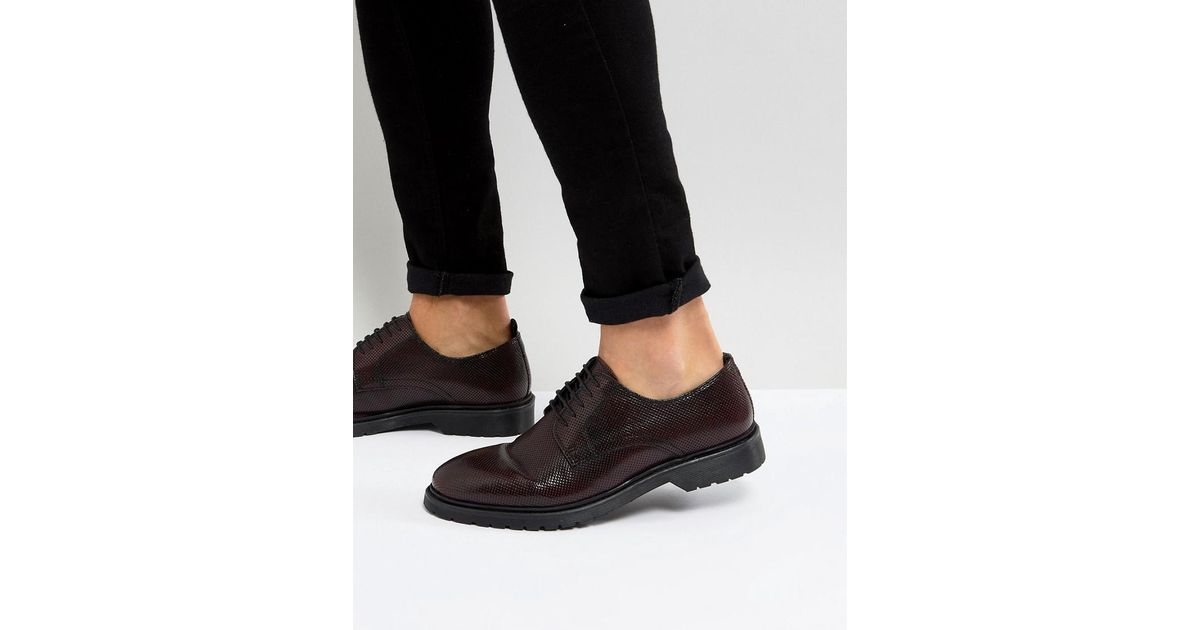 ASOS Lace Up Derby Shoes In Burgundy Perforated Leather With Ribbed Sole Xv9jW
