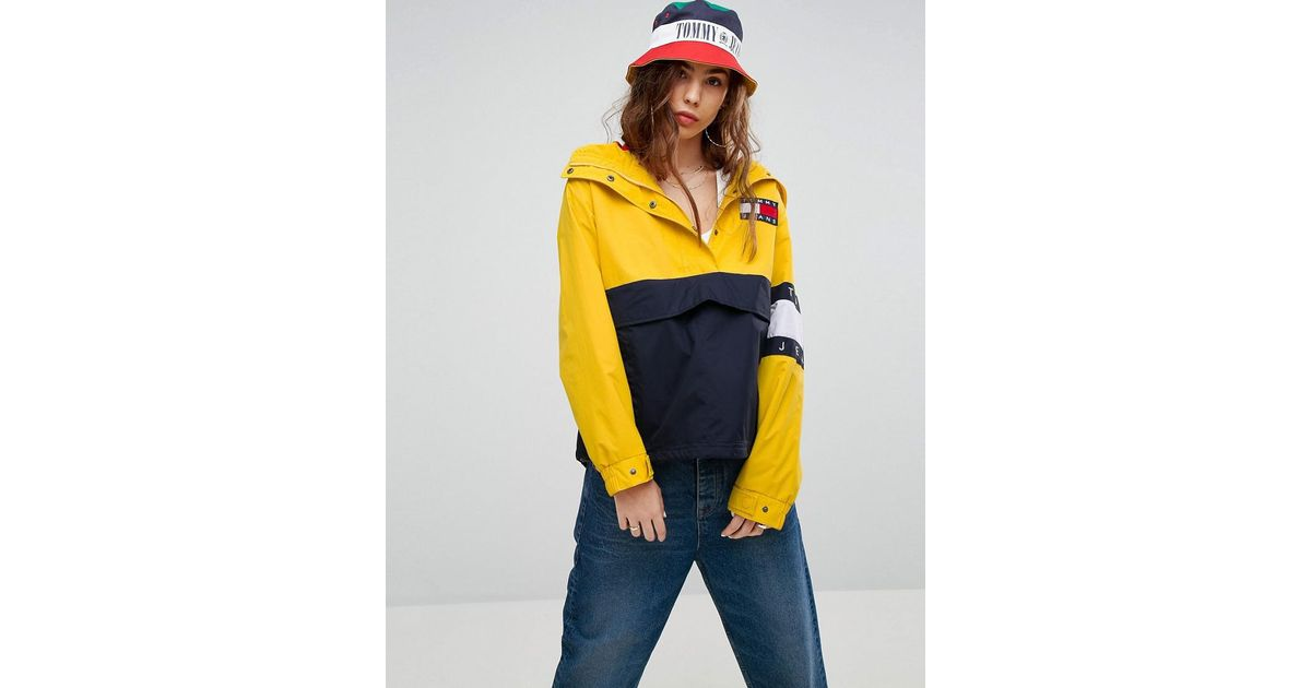 bcfaa38d Tommy Hilfiger Tommy Jeans 90s Capsule Colourblock Windbreaker Jacket in  Yellow - Lyst