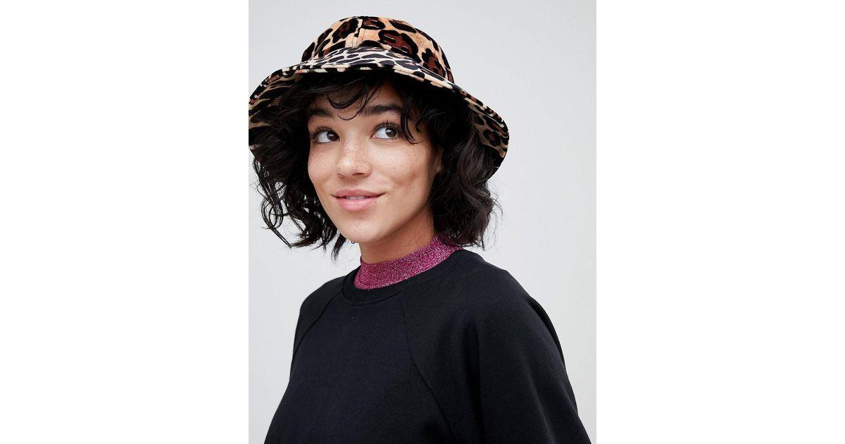 Lyst - Lazy Oaf Leopard Bucket Hat in Black 8ad69fa9e5fd