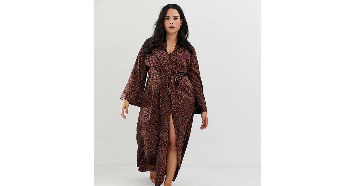 883ff22d7e Lyst - Savage x Fenty Curvy Animal Print Satin Long Kimono Robe In Toffee  Leopard in Brown