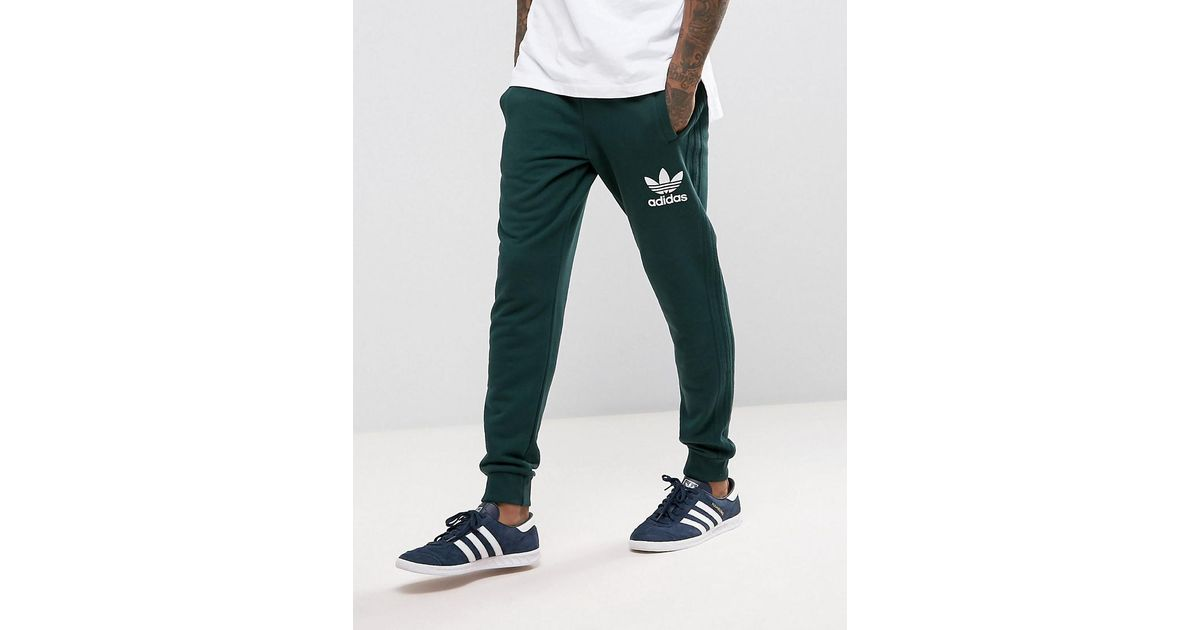 Lyst Adidas Originals 3 Stripe Jogger In Green Bs4637 In