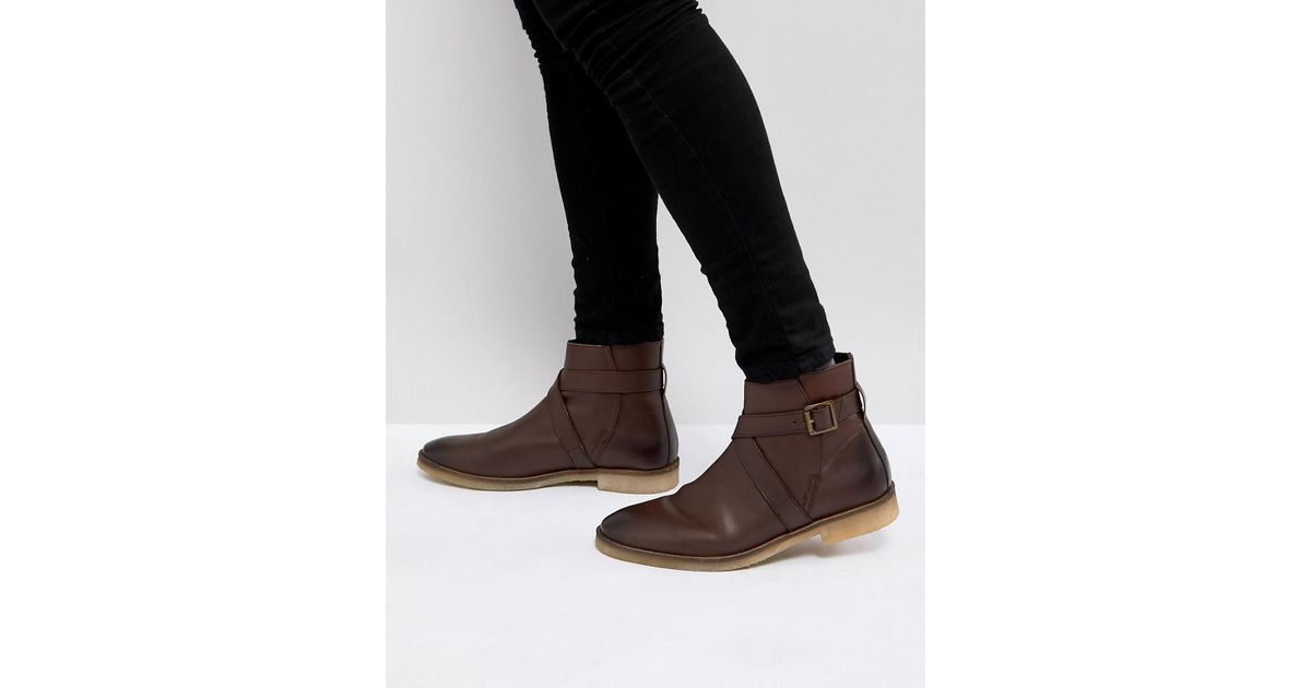 Chelsea Boots In Brown Leather With Strap Detail And Natural Sole - Brown Asos lXCrtq8RA