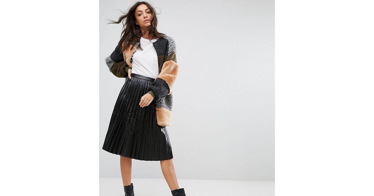 0176c9dd5c1c Noisy May Tall Pleated Vinyl Skirt in Black - Lyst