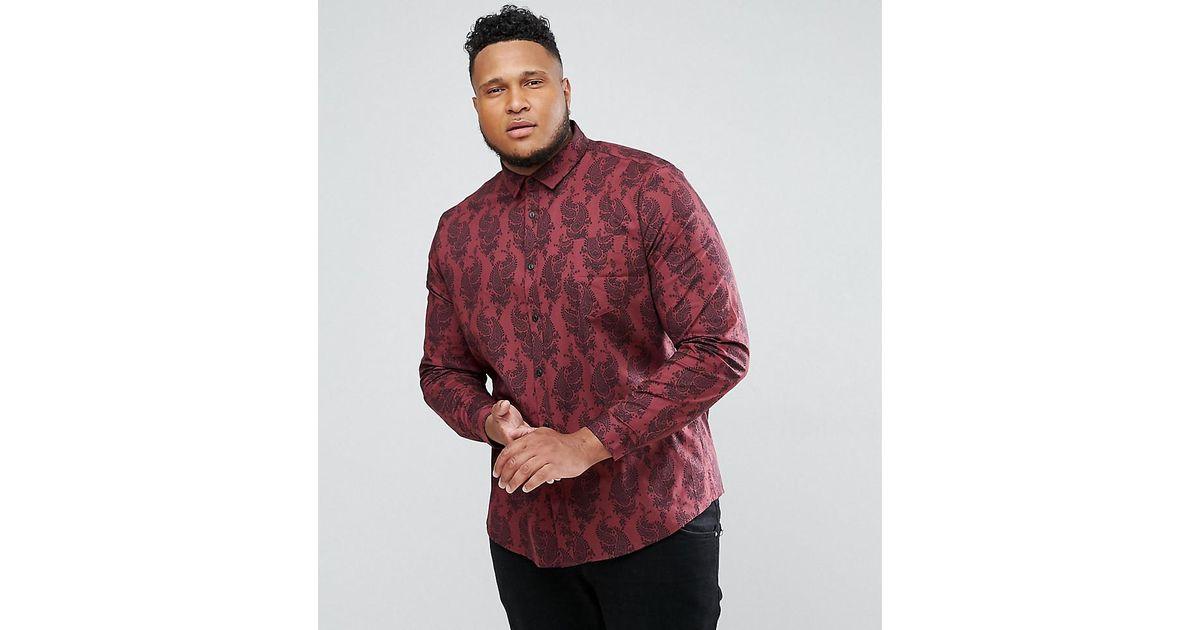 DESIGN Plus stretch slim shirt with paisley floral print - Burgundy Asos Perfect Cheap Price 9rqssWA