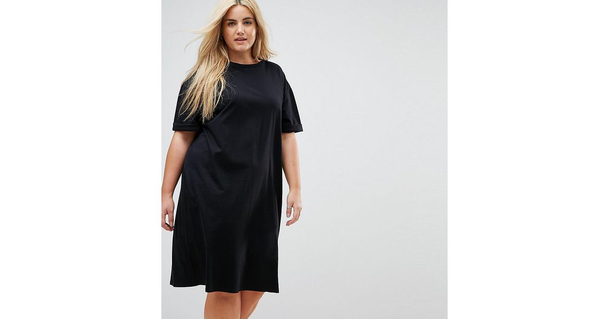 f602c3645c1 Lyst - Asos Ultimate Midi T-shirt Dress With Rolled Sleeves in Black