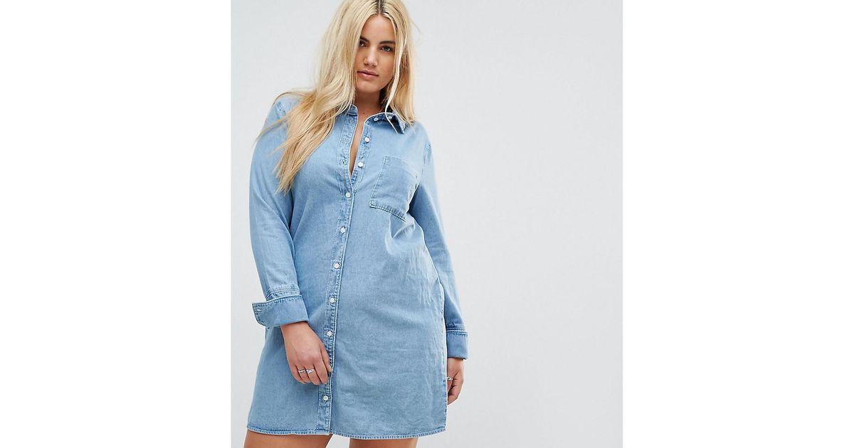 ae431f86c42 ASOS Asos Design Curve Denim Shirt Dress With Deep Cuff Detail in Blue -  Lyst