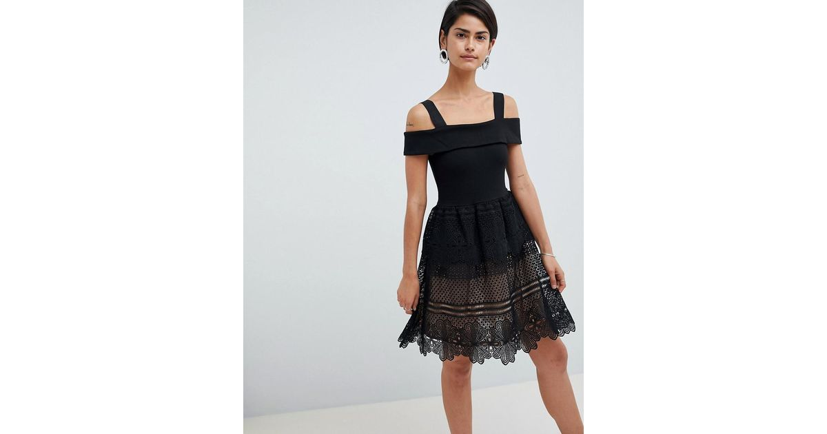 b5a37887fea French Connection Amelia Lace Off Shoulder Dress in Black - Lyst