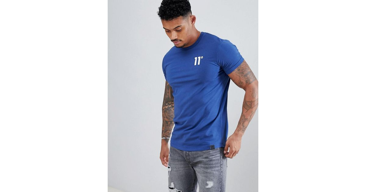 846b50a5 11 Degrees Muscle Fit T-shirt In Blue With Logo in Blue for Men - Lyst