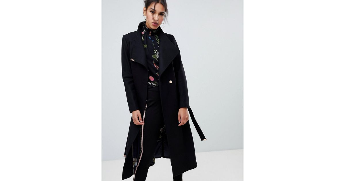 05e6e237ab97f Lyst - Ted Baker Sandral Extra Long Wool Wrap Coat in Black