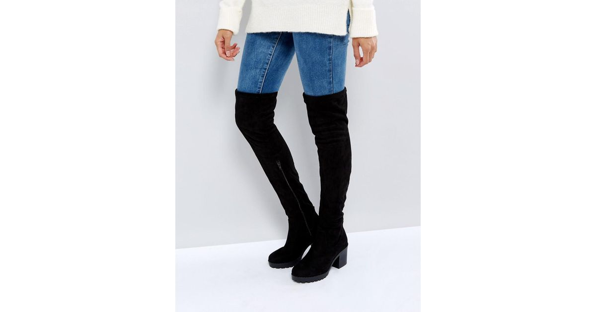 c7b0d70e16e New Look Chunky Track Sole Over The Knee Boot in Black - Lyst