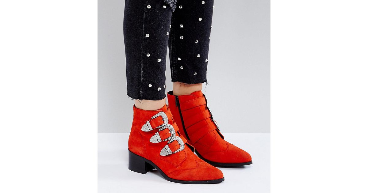 055e165e1c71 ASOS Asos Relieve Wide Fit Suede Buckle Ankle Boots in Red - Lyst