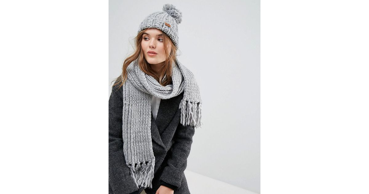 Barbour Chunky Knit Hat And Scarf Set in Gray - Lyst 4640dc577d9