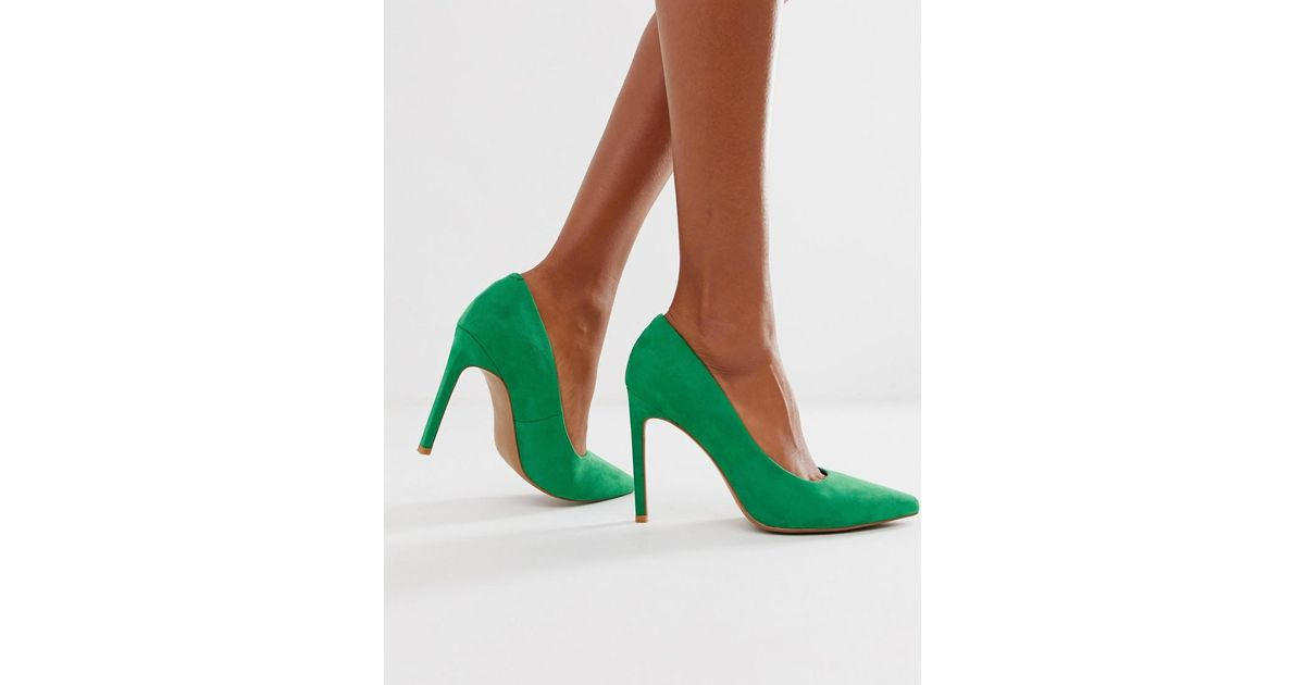 984f4de8992 Lyst - ASOS Porto Pointed High Heeled Pumps In Emerald Green in Green