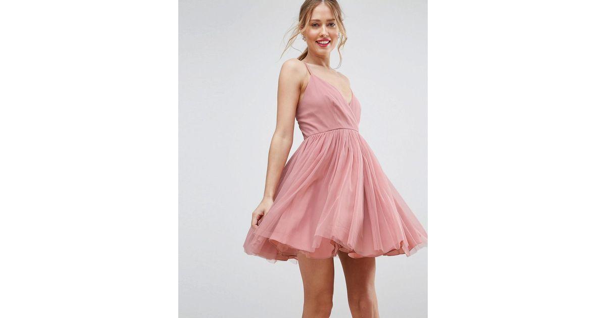 05ff69eecd47 ASOS Tulle Mini Dress in Pink - Lyst