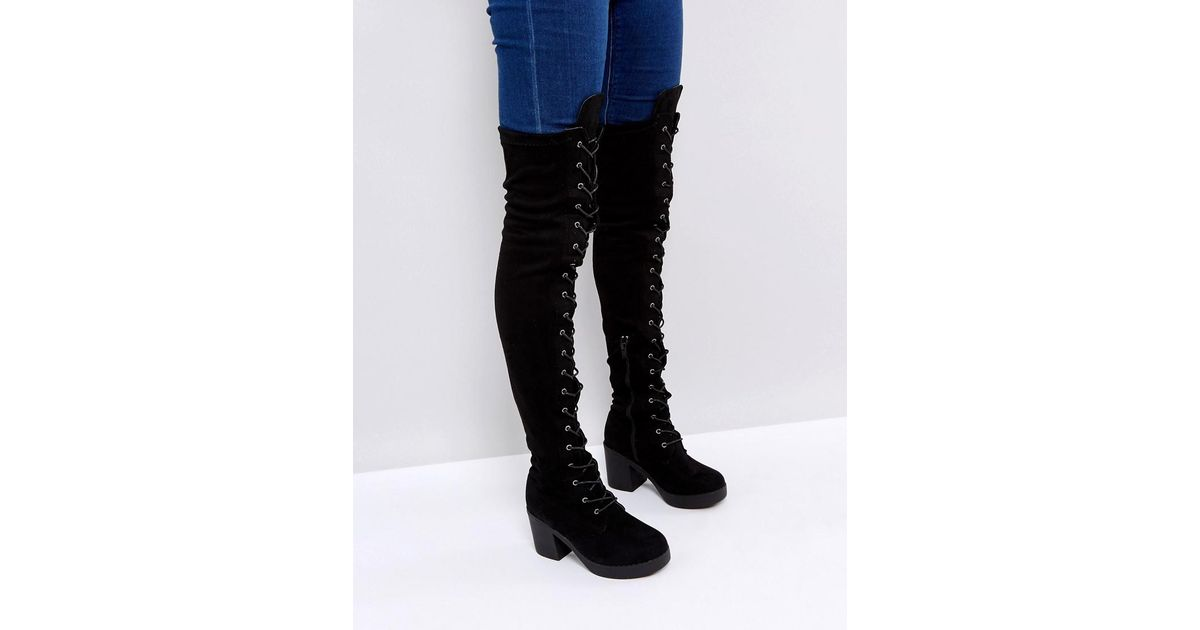 5b7645ae6c6 Truffle Collection Chunky Heel Over Knee Boot in Black - Lyst