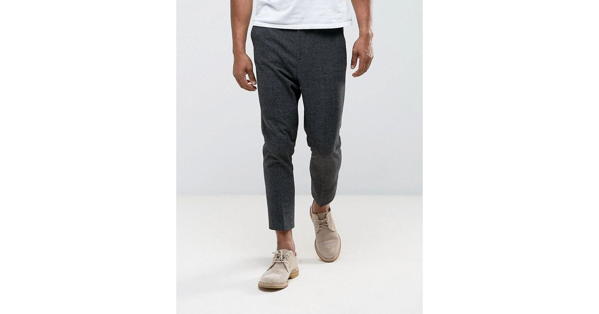 Tapered Smart Trouser In Charcoal Texture With Elasticated Back - Charcoal Asos 7m1bOyhzVL