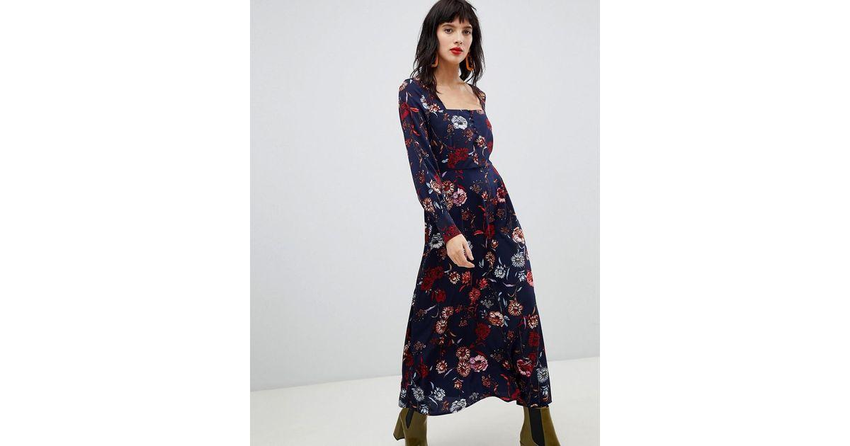 e697b2ca0b2 Robe longue fleurs avec encolure carre Vero Moda en coloris Bleu - Lyst
