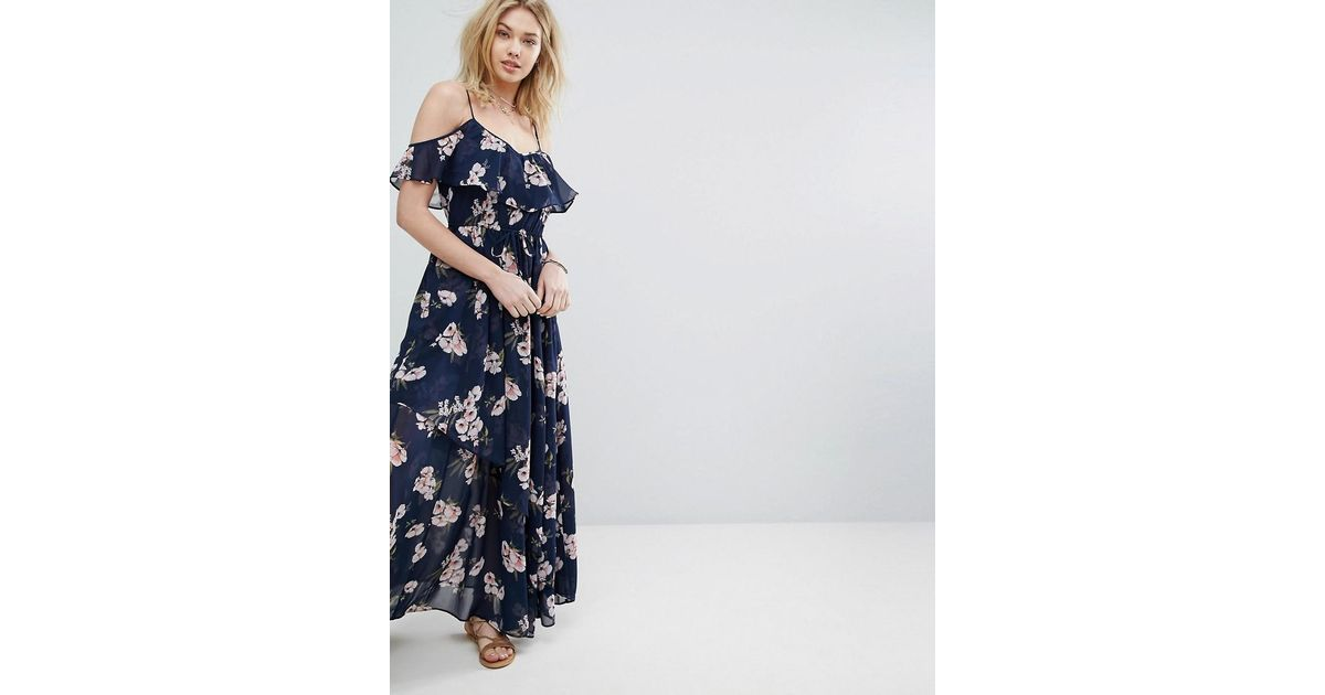 6a128c001a495 Lyst - Abercrombie   Fitch Cold Shoulder Ruffle Maxi Dress in Blue