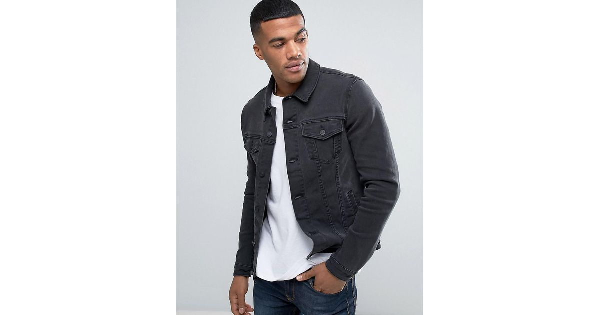 dd56b9f35ead ASOS Asos Super Skinny Denim Jacket In Washed Black in Black for Men - Lyst