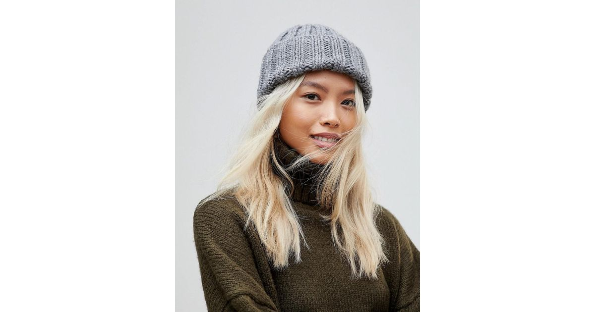 French Connection Chunky Knit Beanie Hat in Gray - Lyst a2370052e64