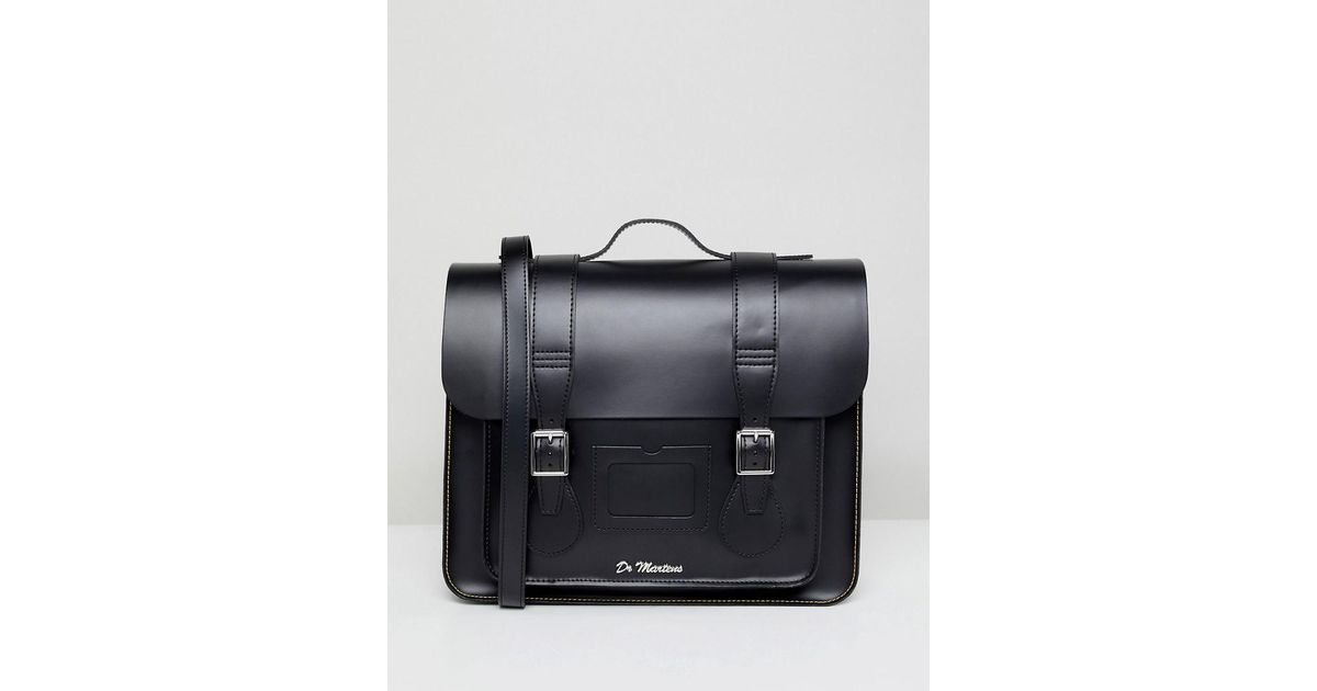 6a41ff6a73 Lyst - Dr. Martens 15 Inch Leather Satchel in Black for Men