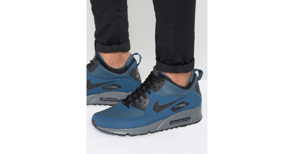 reputable site 63793 0a63e Nike Air Max 90 Winterized Mid Trainers In Blue 806808-400 for men