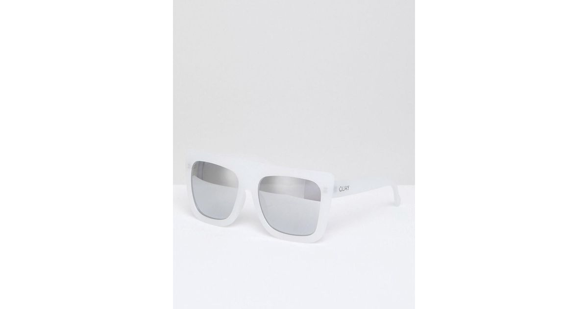 Lyst - Quay Café Racer Square Frame Flat Top Sunglasses in White