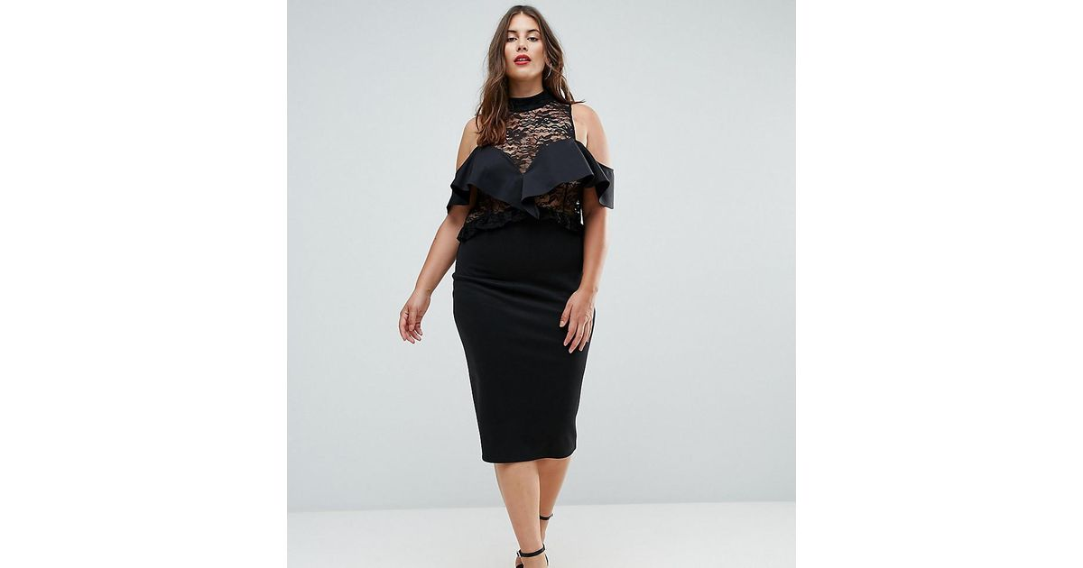 da728a7af33 ASOS Ruffle Front Sheer Lace Bodycon Midi Dress in Black - Lyst