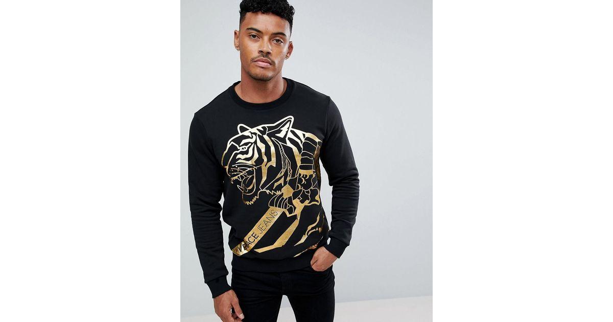 Lyst - Sweat à imprimé tigre métallisé Versace Jeans pour homme en coloris  Noir 70852c9eacb