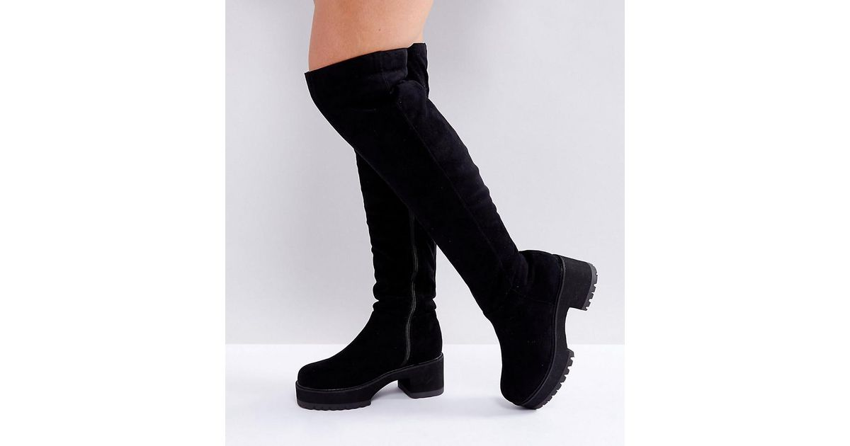 Over in Kitsch Wide Chunky Black Asos The Lyst Knee Asos Boots Fit Yq1xfO