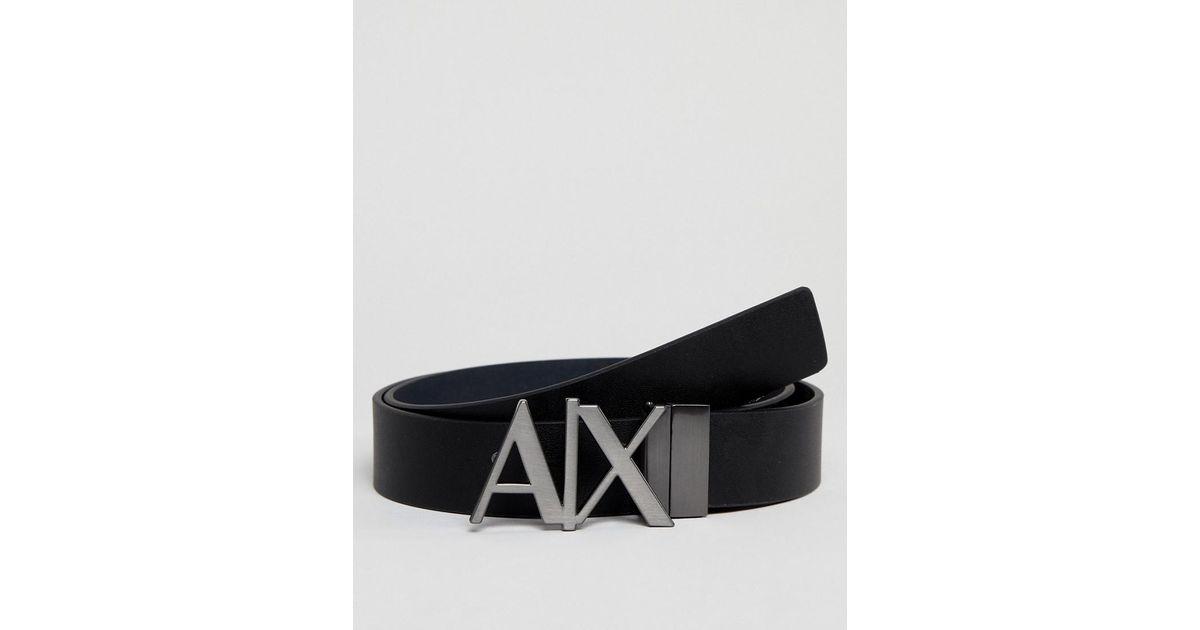 2342aa78e0f Lyst - Ceinture rversible en cuir avec logo sur la boucle Armani Exchange  pour homme en coloris Noir