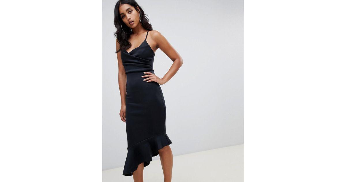 249445f2b435f ASOS Scuba Cami Pephem Midi Dress in Black - Lyst