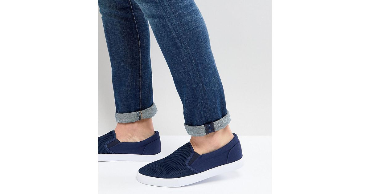 ASOS Wide Fit Slip On Plimsolls In Navy Mesh clearance Cheapest from china free shipping with mastercard mEwUdx