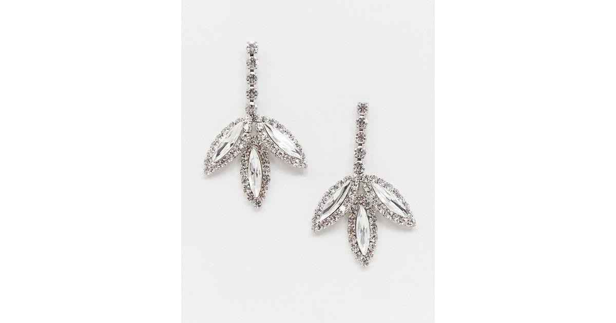 0d682ffa8 Lyst - True Decadence Crystal Drop Leaf Earrings in Metallic