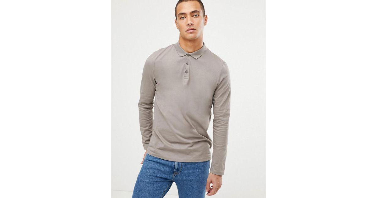 a45342e24ee Lyst - Polo en jersey manches longues ASOS pour homme en coloris Neutre