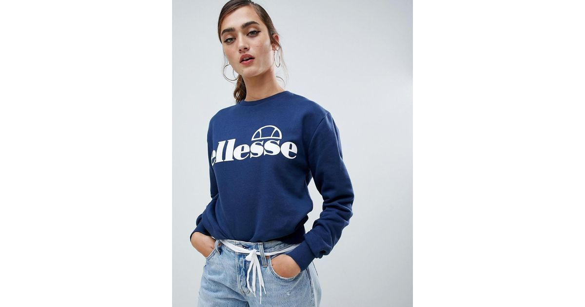 d069d078 Ellesse Boyfriend Sweatshirt With Front Logo in Blue - Lyst