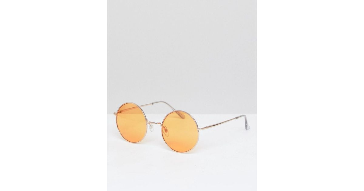 df3922248d9 Lyst - ASOS Round Sunglasses In Gold With Orange Lens in Metallic for Men